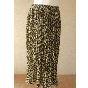 VTG Crinkle Semi Sheer Maxi Skirt Rose Print Boho